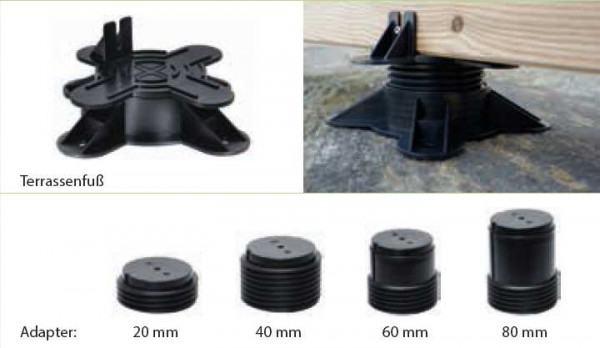 Terrassenfuss Adapter Lifto 40mm VPE 5 S