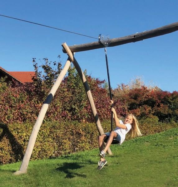 Seilbahn aus Robinien Holz 20 m lang